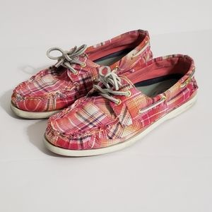 Womens Sperrys Topsiders Pink Plaid Fabric 8.5
